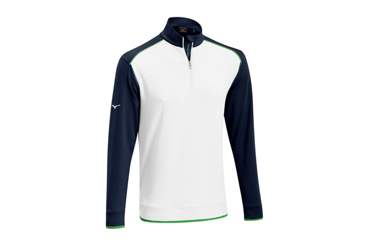 Mizuno 2016 Warmalite 1/4 Zip Sweater White Blue (M)