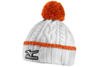 Mizuno 2015/16 Cable Knit Bobble Hat White Orange