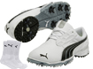 Puma 2014 Bio Fusion LT Zapatos de Golf Blanco Negro EUR 43 with FREE Calcetines