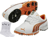 Puma 2014 Bio Fusion LT Chaussures Golf Blanc Orange EUR 46 with FREE Chaussettes