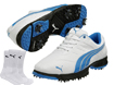 Puma 2014 Fusion Sport Golf Shoes White Blue UK 11 with FREE Socks