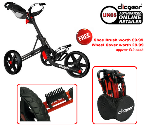 Clicgear 3.0 Black with FREE Wheel Cover and Shoe Brush