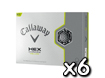 Callaway 2013 HEX Chrome Jaune Balles de Golf x6