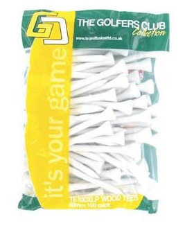 THE GOLFERS CLUB WOODEN TEES 69mm x100