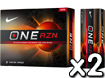 Nike 2013 One RZN X Golfballen x2 with FREE VR Hat Clip Ball Marker
