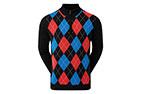 FootJoy Wool Blend 1/2 Zip Lined Sweater Black Argyle