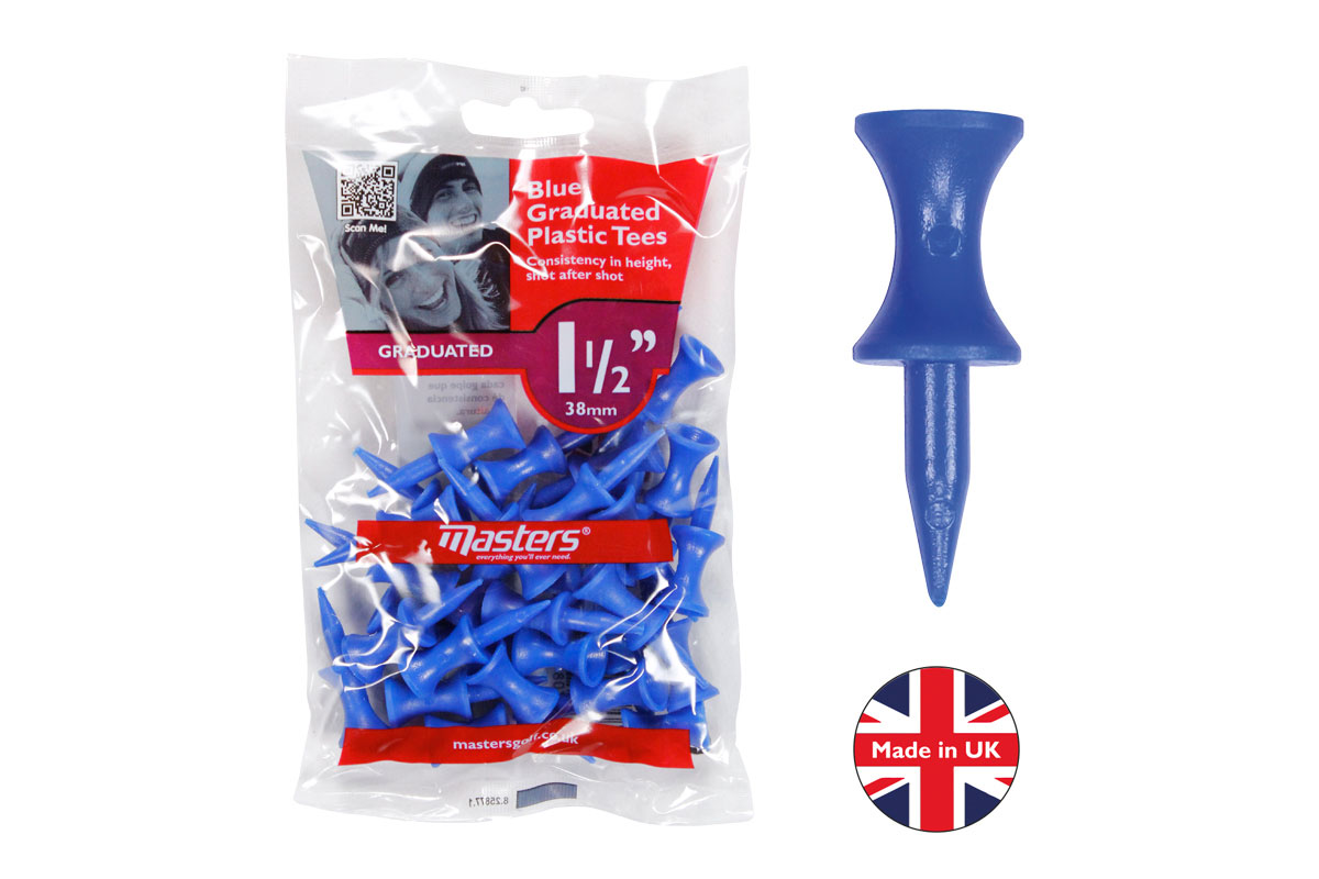 "Masters Plastic Graduated Golf Tees 1 1/2"" 10PK (300 Tees - Blue)"